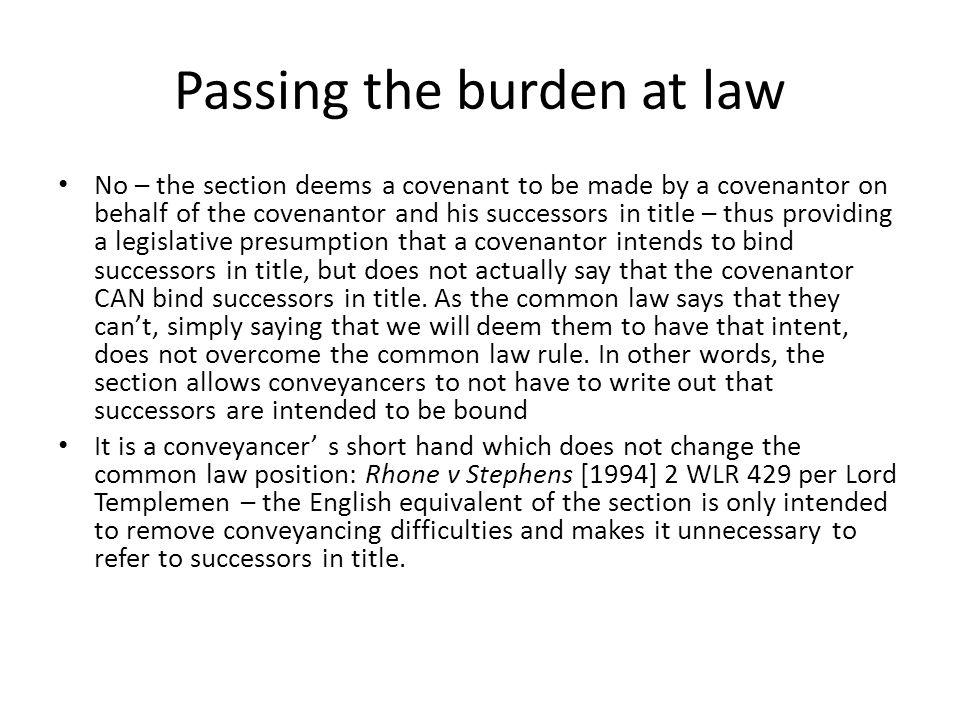 Passing the burden at law