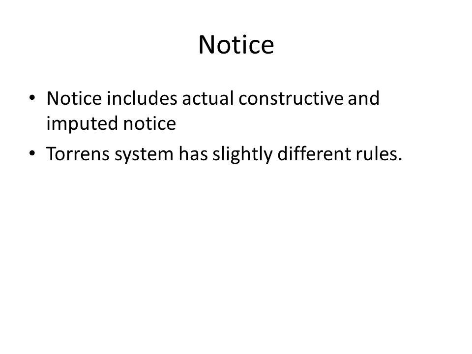 Notice Notice includes actual constructive and imputed notice