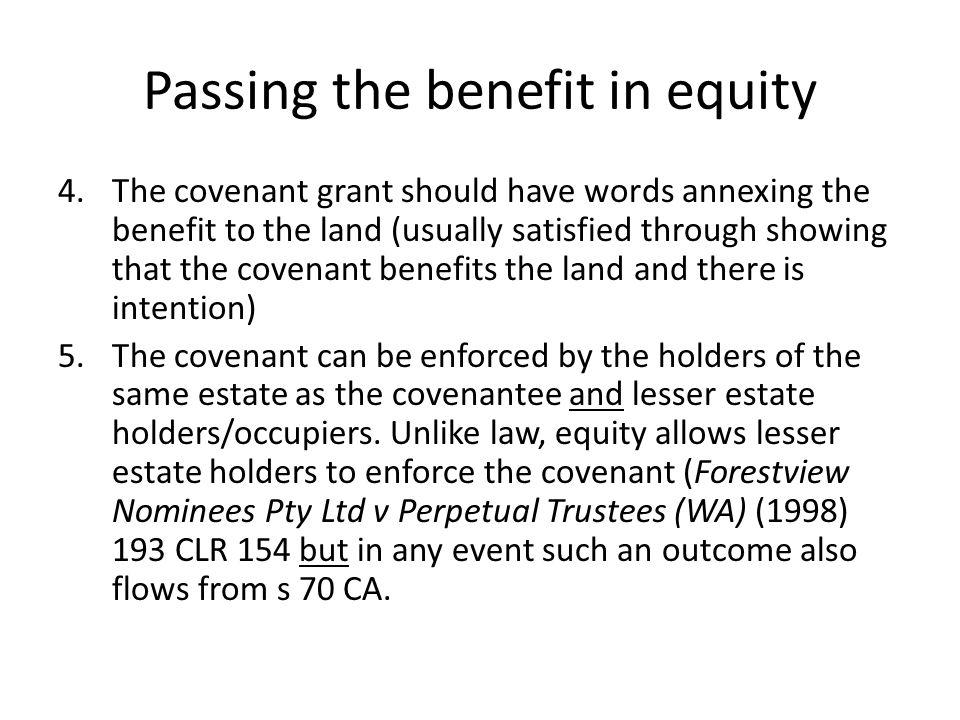Passing the benefit in equity