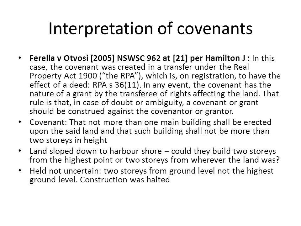 Interpretation of covenants