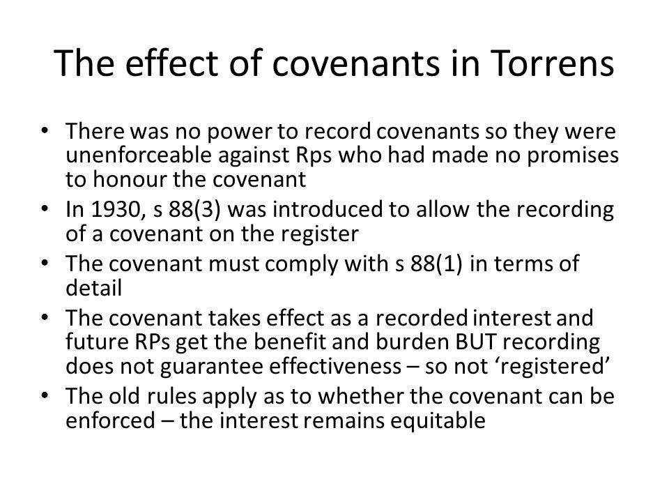 The effect of covenants in Torrens