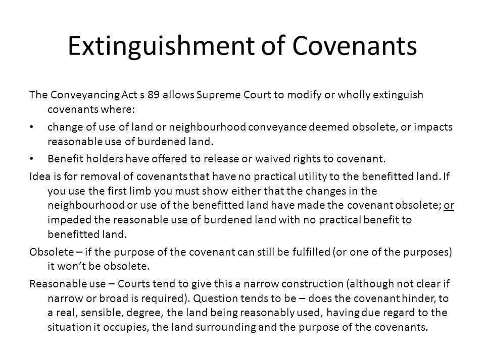 Extinguishment of Covenants