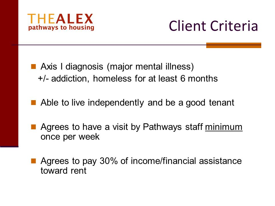 Client Criteria Axis I diagnosis (major mental illness)