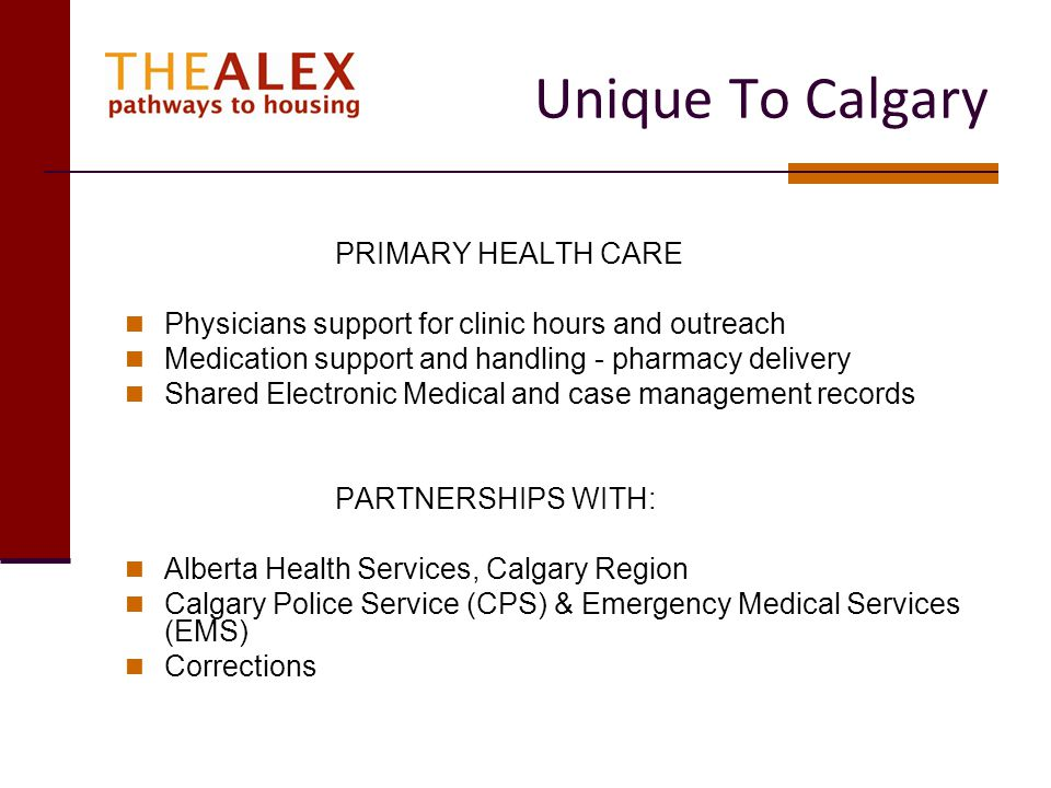 Unique To Calgary PRIMARY HEALTH CARE