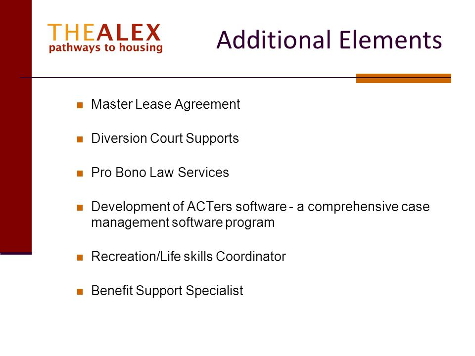 Additional Elements Master Lease Agreement Diversion Court Supports