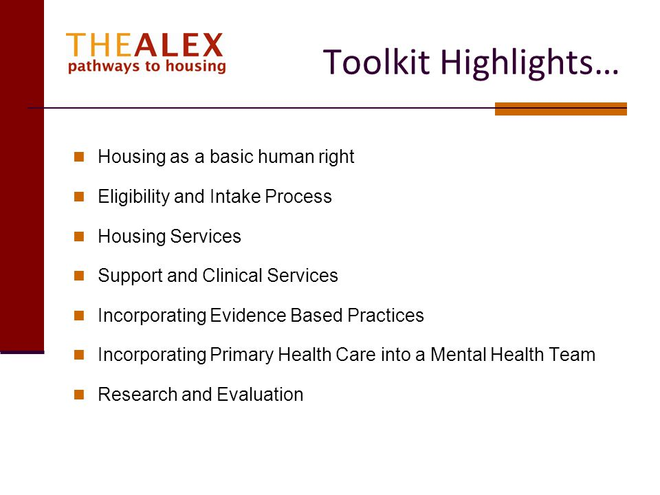 Toolkit Highlights… Housing as a basic human right