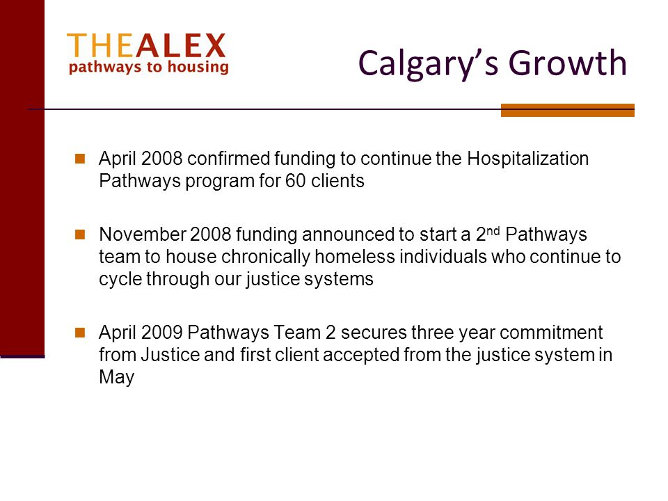 Calgary's Growth April 2008 confirmed funding to continue the Hospitalization Pathways program for 60 clients.