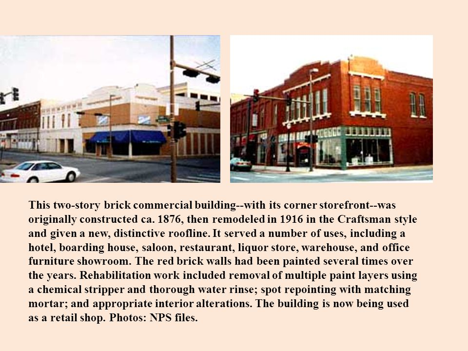 This two-story brick commercial building--with its corner storefront--was originally constructed ca.