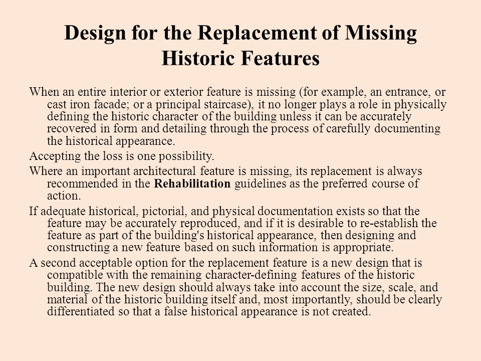 Design for the Replacement of Missing Historic Features