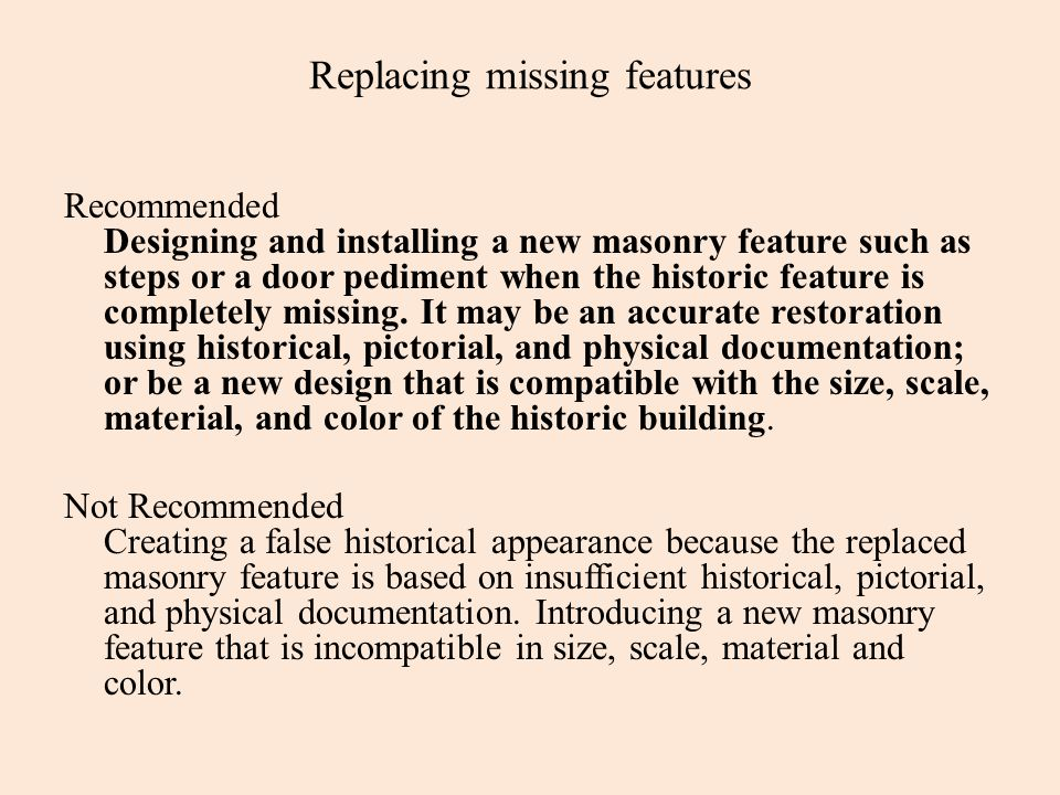 Replacing missing features