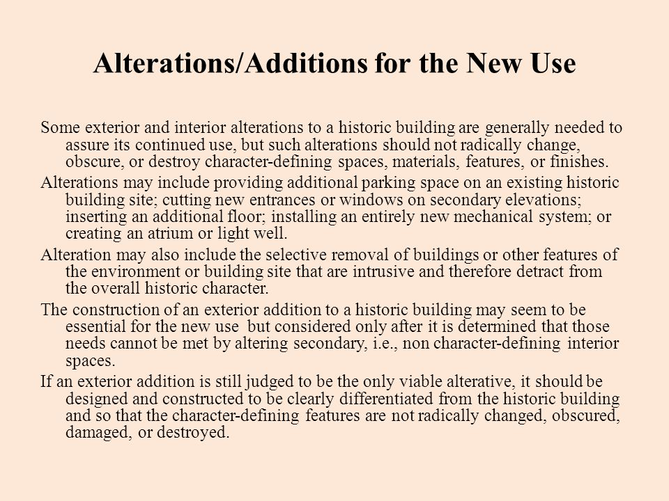 Alterations/Additions for the New Use