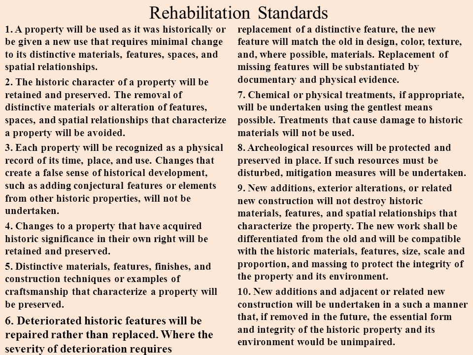 Rehabilitation Standards