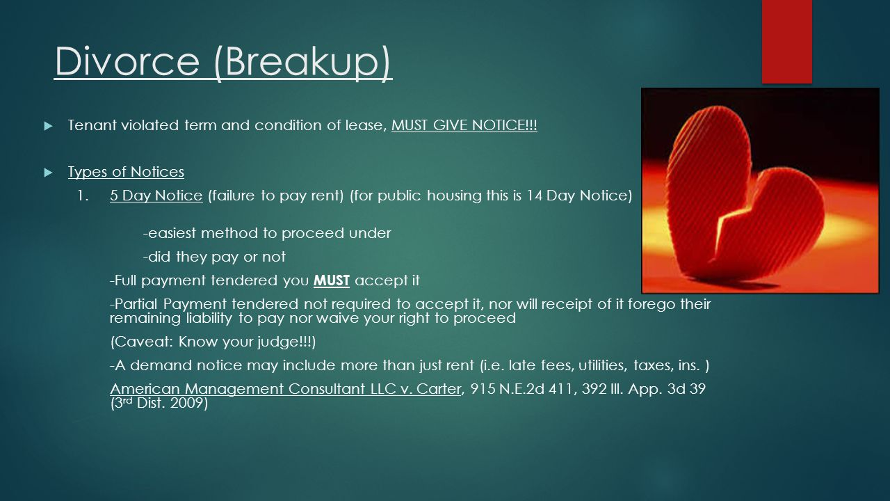 Divorce (Breakup) Tenant violated term and condition of lease, MUST GIVE NOTICE!!! Types of Notices.