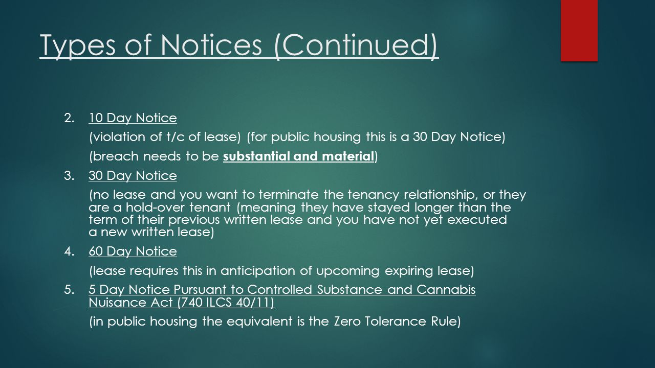 Types of Notices (Continued)