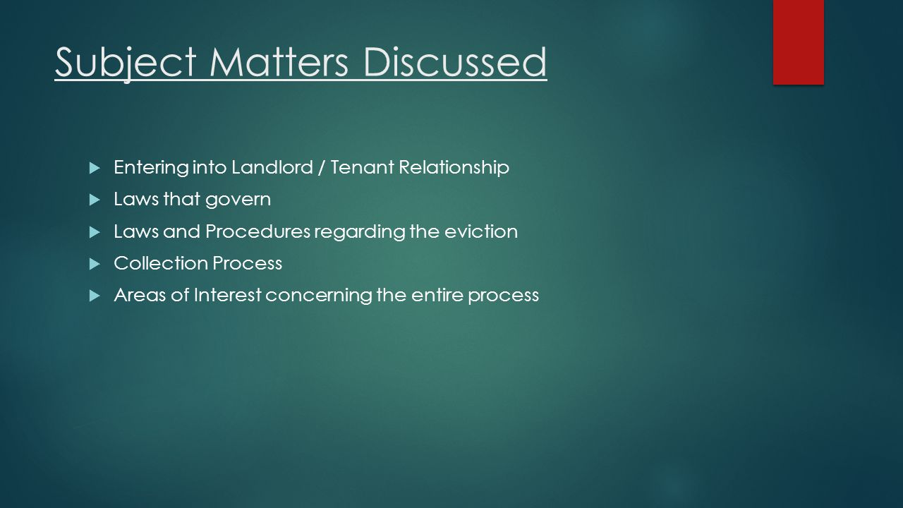 Subject Matters Discussed