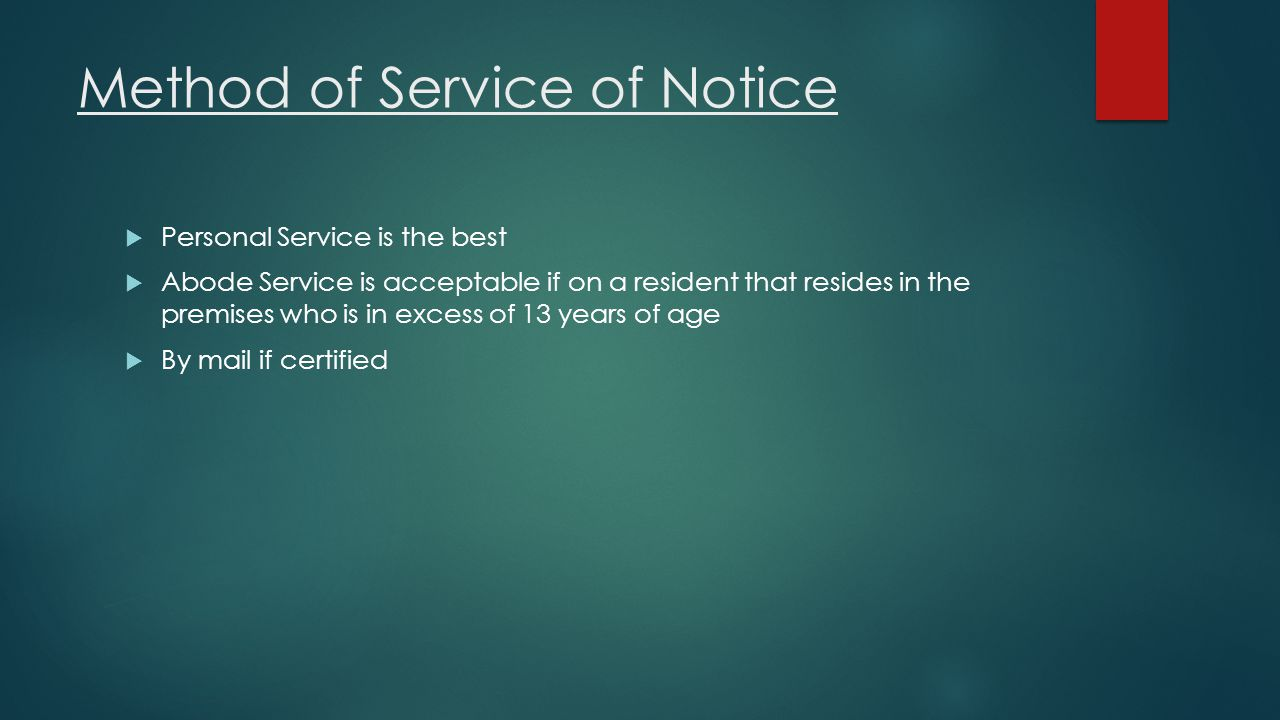 Method of Service of Notice