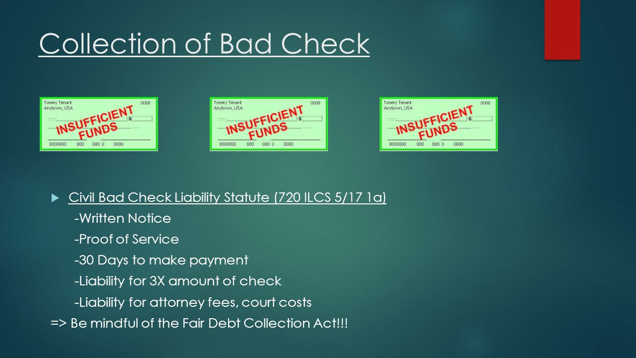 Collection of Bad Check