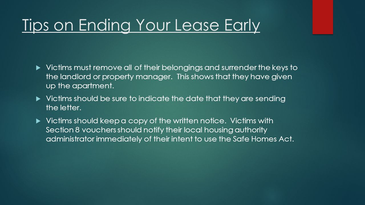 Tips on Ending Your Lease Early