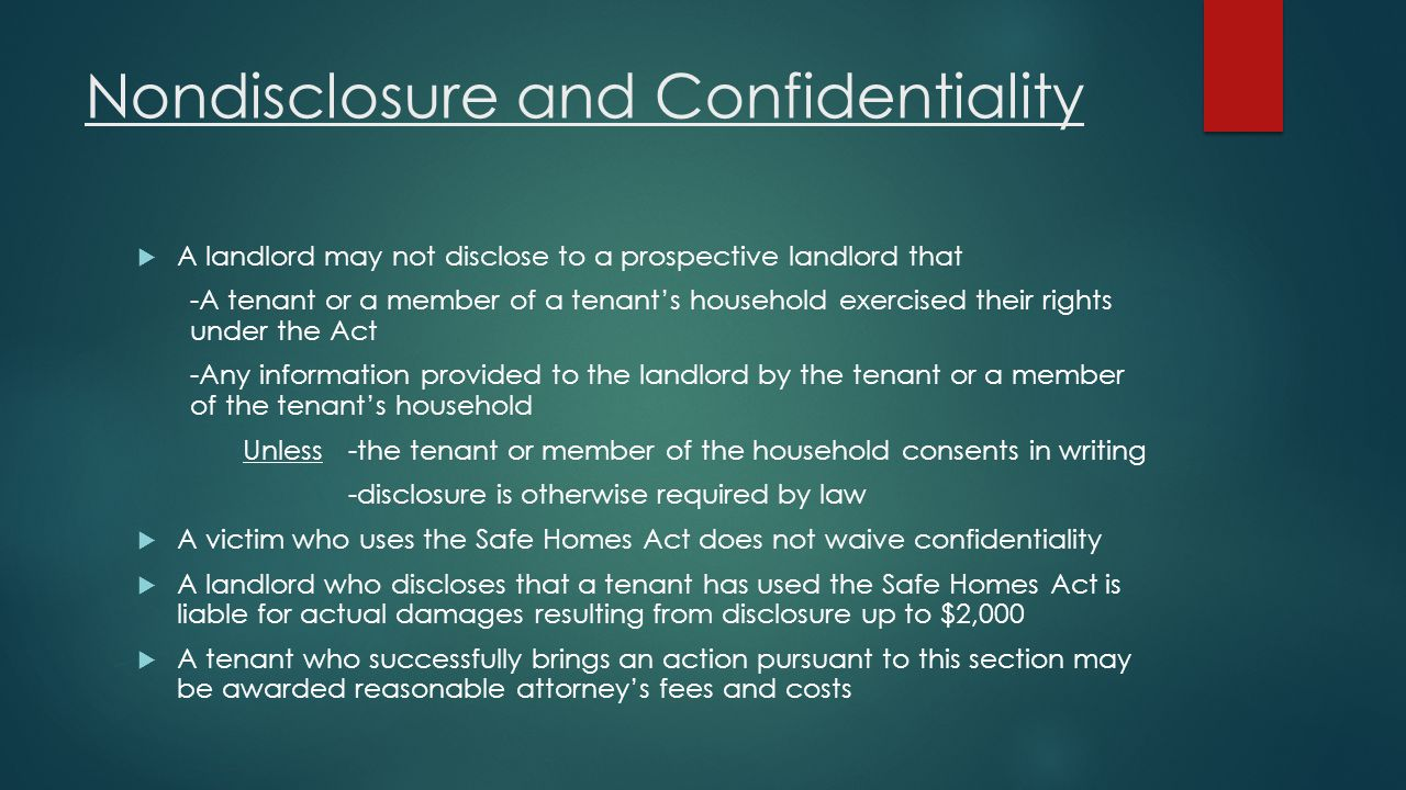 Nondisclosure and Confidentiality