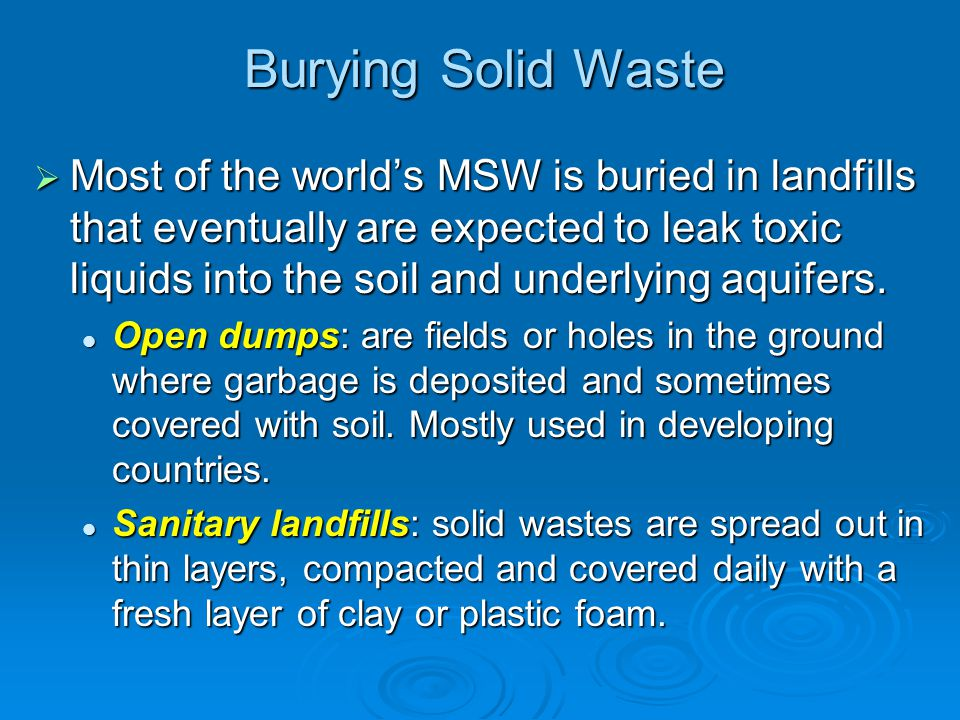 Burying Solid Waste