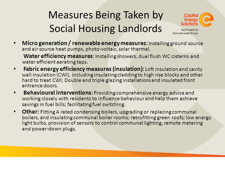 Measures Being Taken by Social Housing Landlords