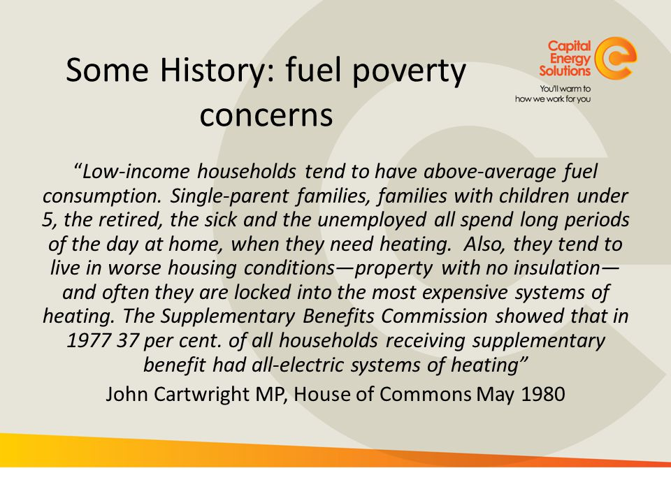 Some History: fuel poverty concerns