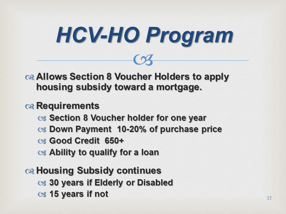 HCV-HO Program Allows Section 8 Voucher Holders to apply housing subsidy toward a mortgage. Requirements.