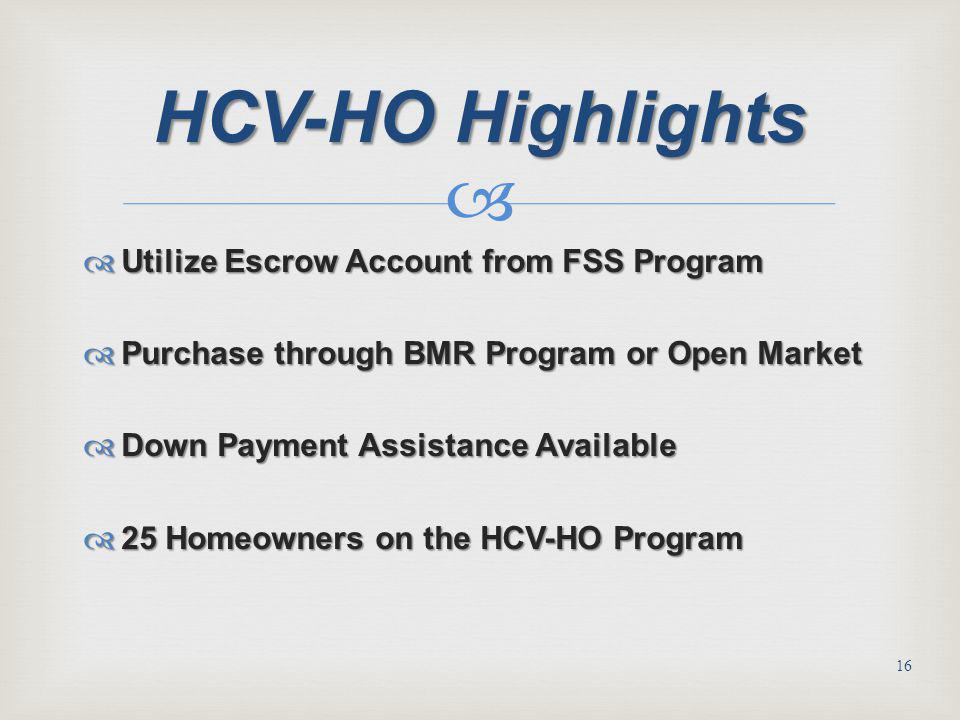 HCV-HO Highlights Utilize Escrow Account from FSS Program