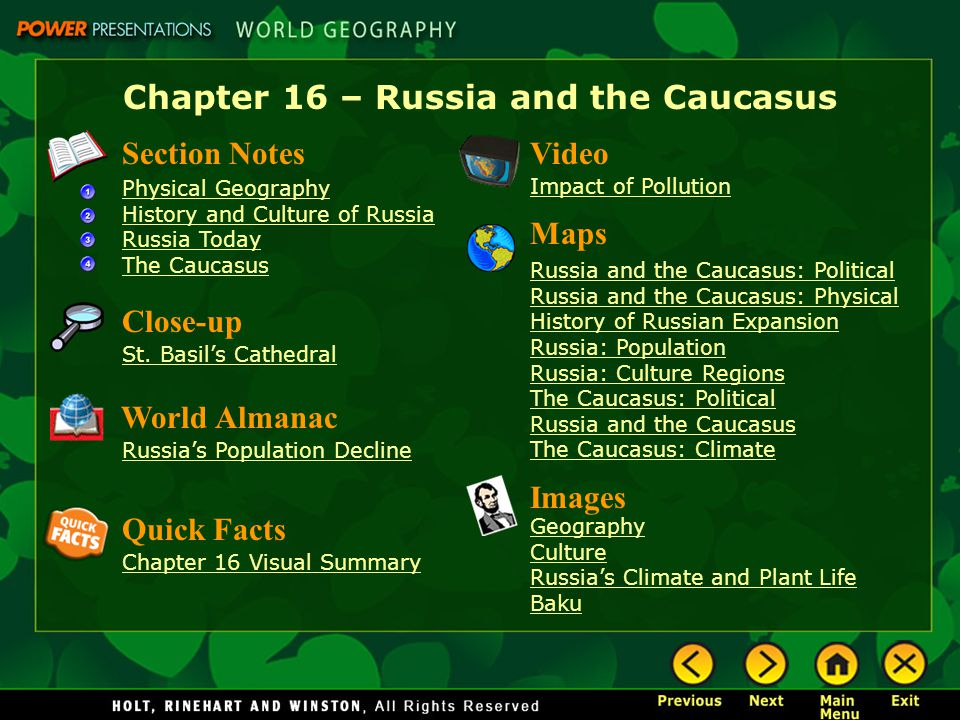 Chapter 16 – Russia and the Caucasus