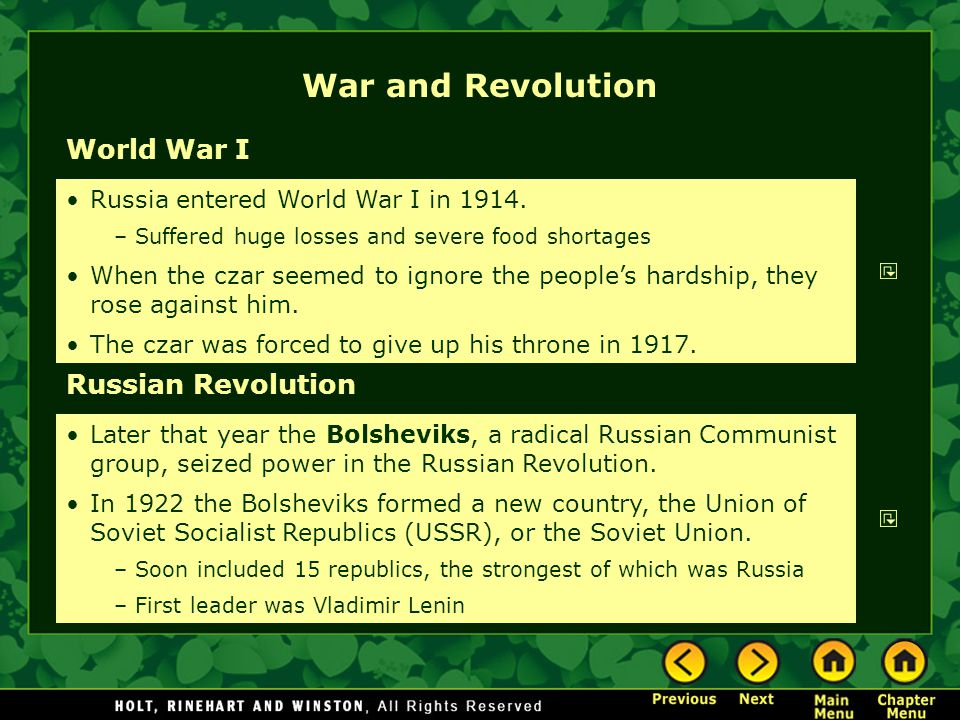 War and Revolution World War I Russian Revolution