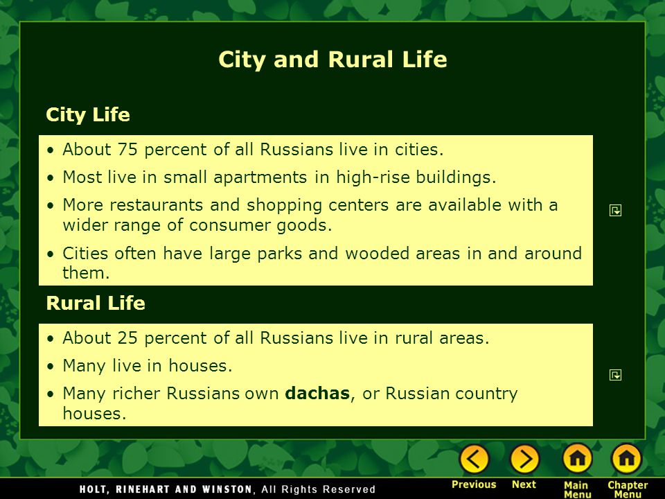 City and Rural Life City Life Rural Life