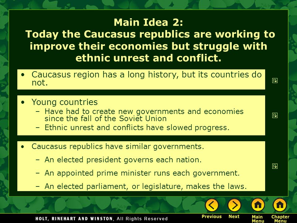 Main Idea 2: Today the Caucasus republics are working to improve their economies but struggle with ethnic unrest and conflict.