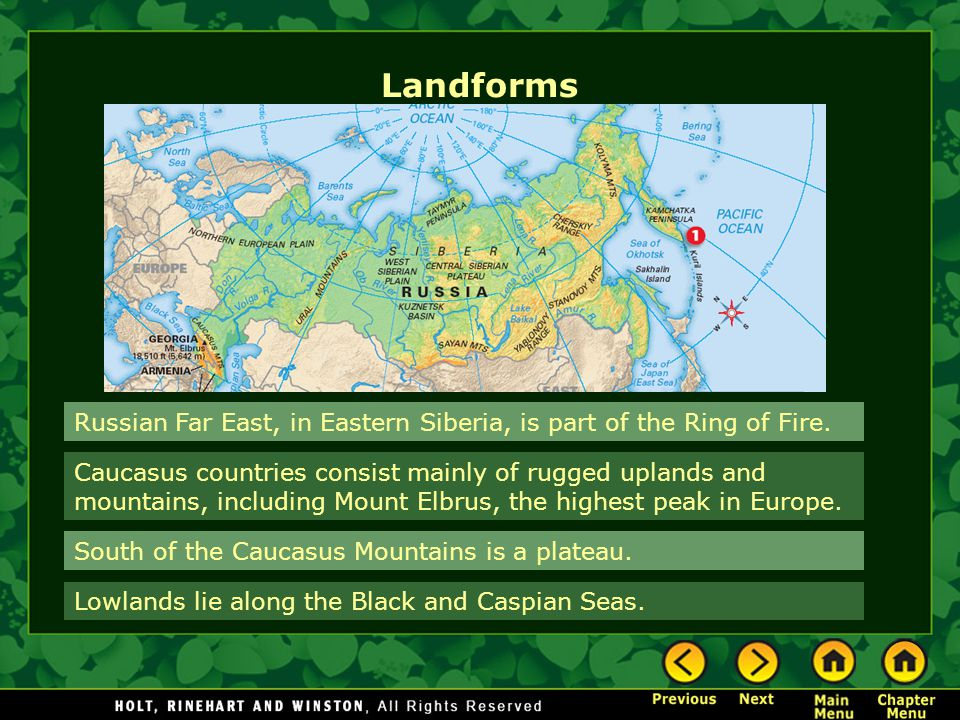 Landforms Russian Far East, in Eastern Siberia, is part of the Ring of Fire.