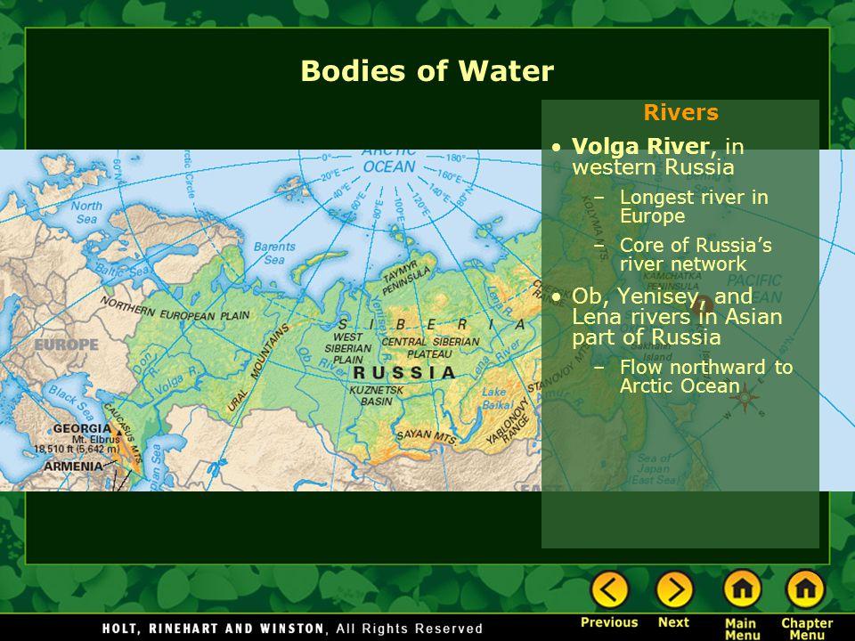 Bodies of Water Rivers Volga River, in western Russia