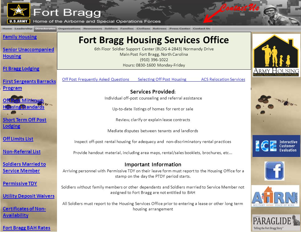 Fort Bragg Housing Services Office Important Information