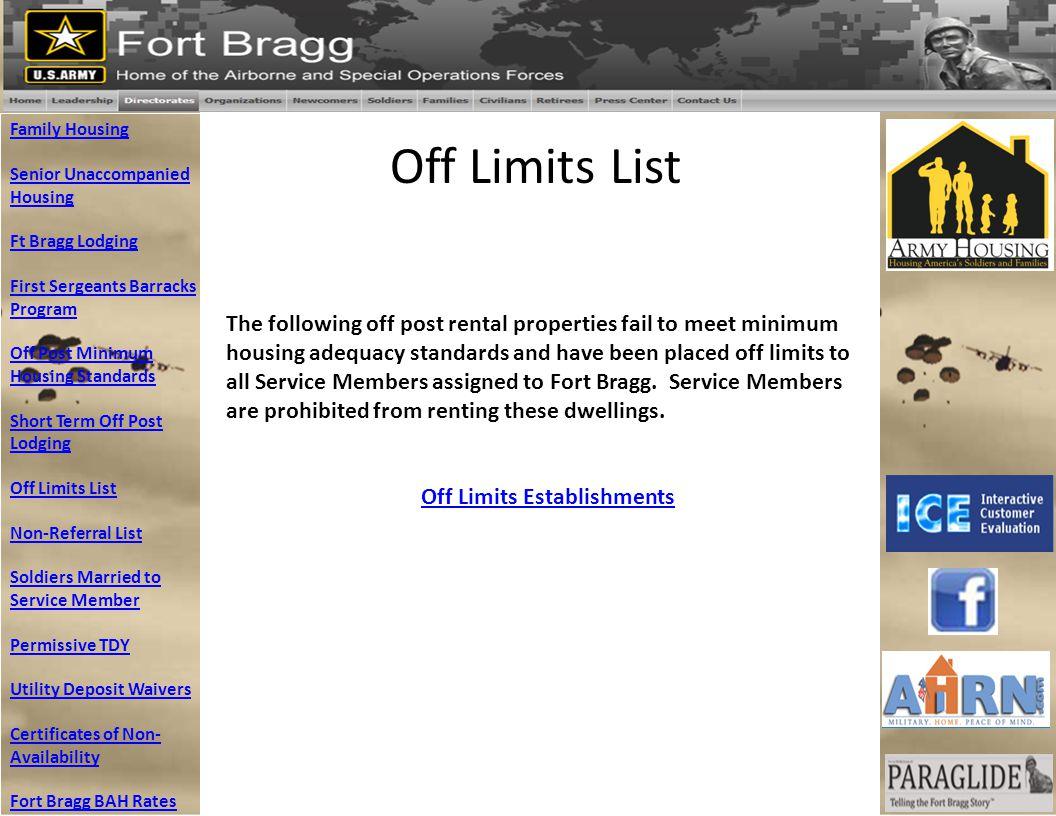 Off Limits Establishments