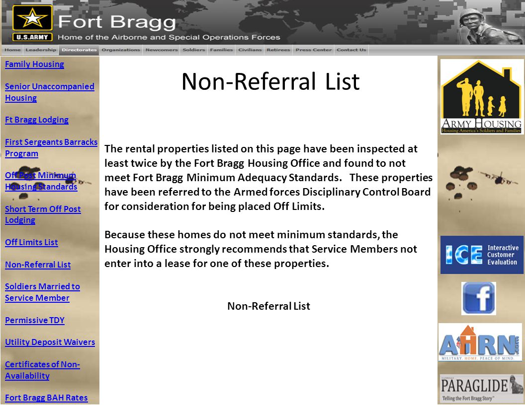 Family Housing Senior Unaccompanied. Housing. Ft Bragg Lodging. First Sergeants Barracks Program.