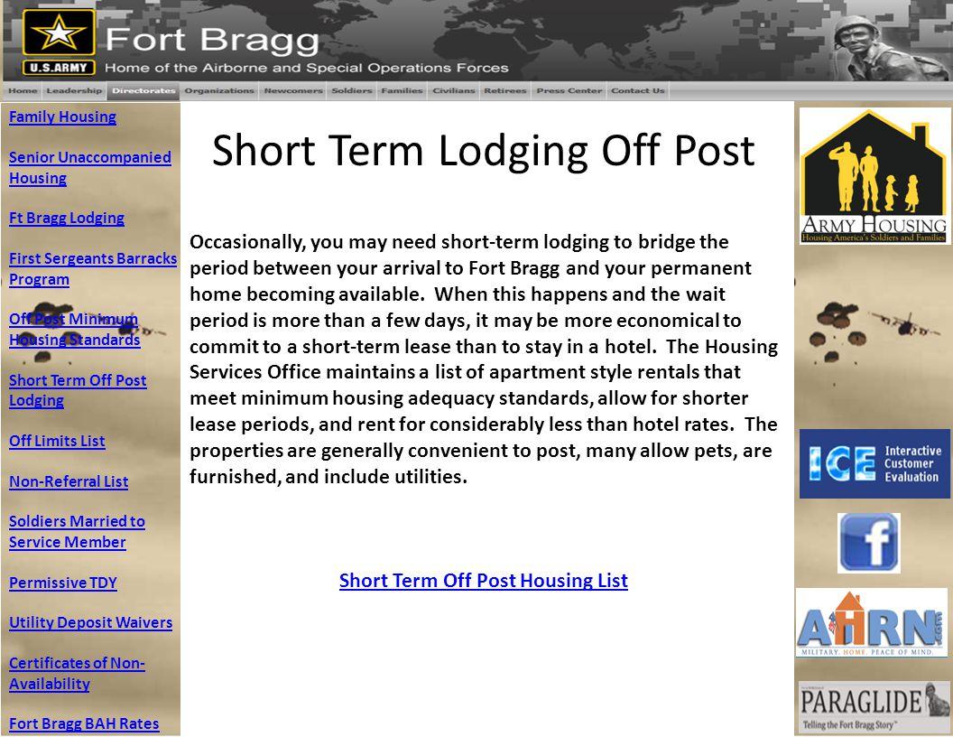 Short Term Off Post Housing List