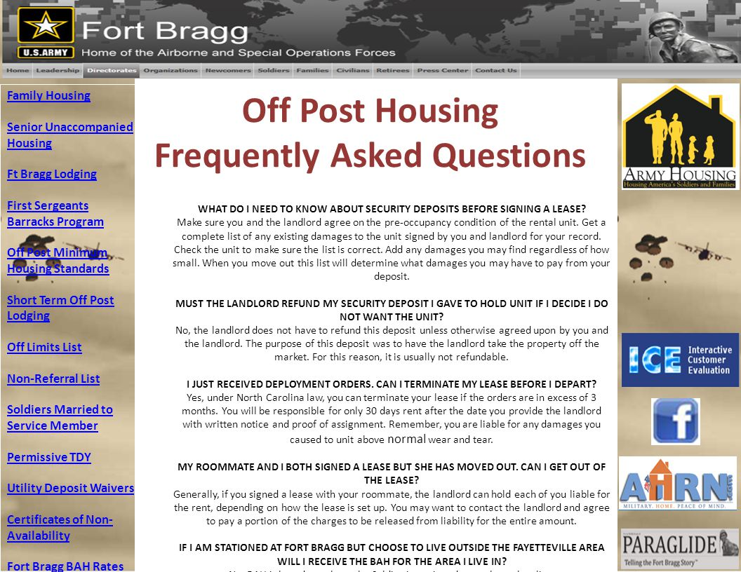 Off Post Housing Frequently Asked Questions