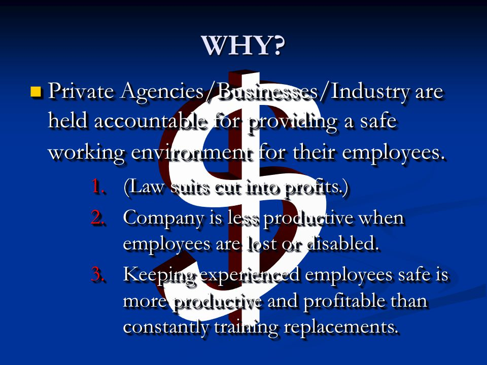 WHY $ Private Agencies/Businesses/Industry are held accountable for providing a safe working environment for their employees.