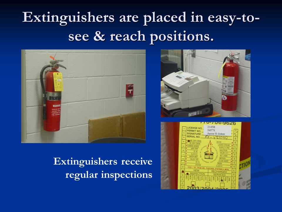 Extinguishers are placed in easy-to-see & reach positions.
