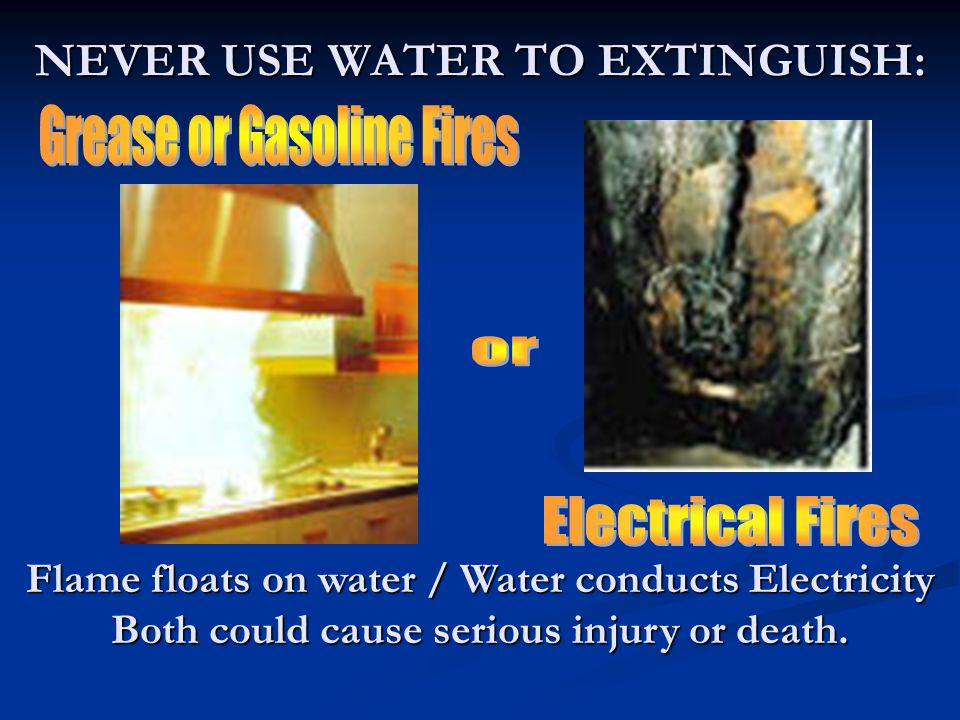 NEVER USE WATER TO EXTINGUISH:
