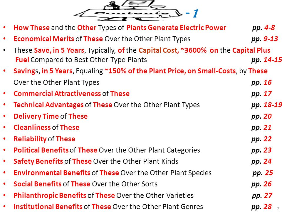 - 1 How These and the Other Types of Plants Generate Electric Power pp. 4-8.