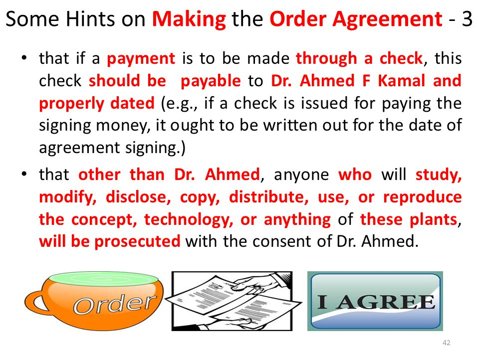 Some Hints on Making the Order Agreement - 3