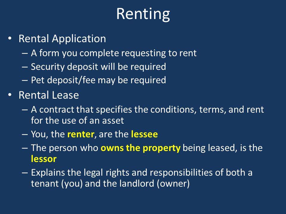 Renting Rental Application Rental Lease