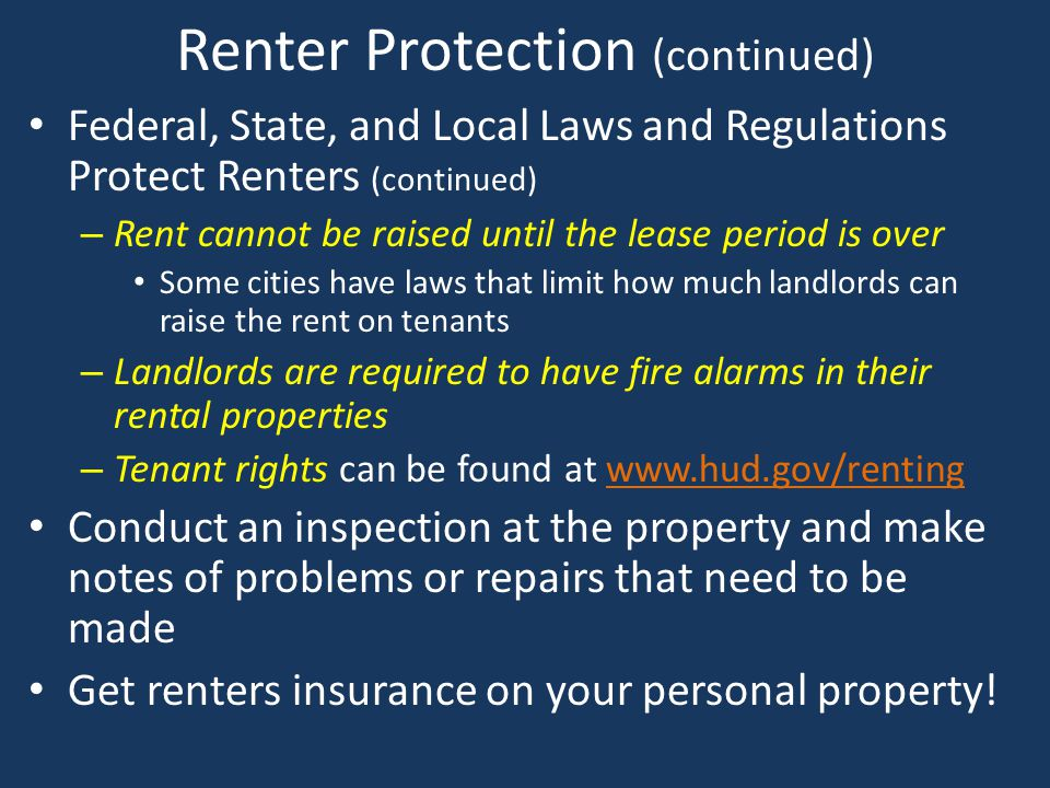 Renter Protection (continued)