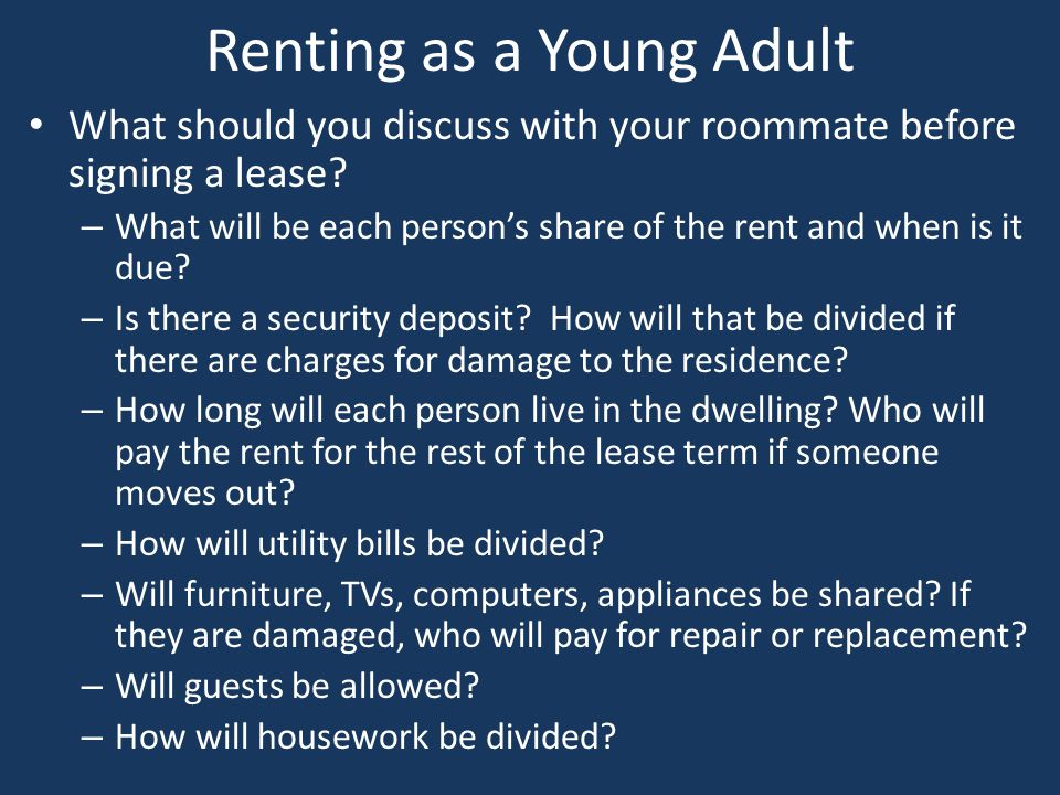 Renting as a Young Adult