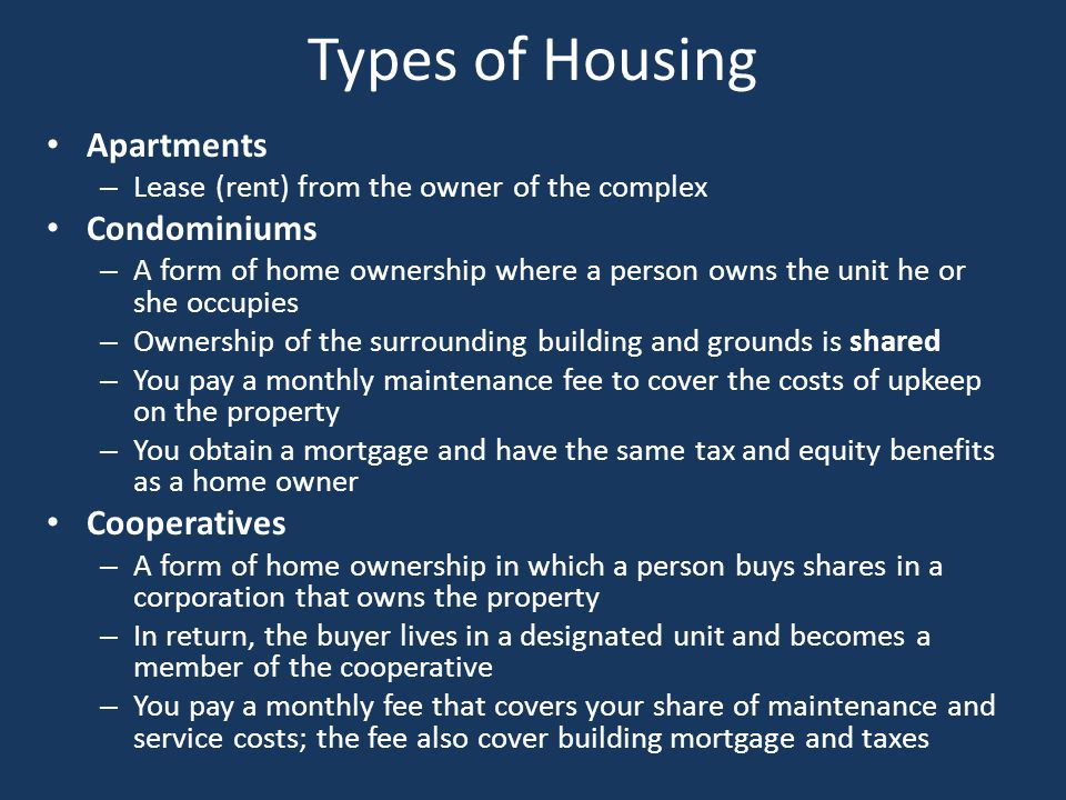 Types of Housing Apartments Condominiums Cooperatives