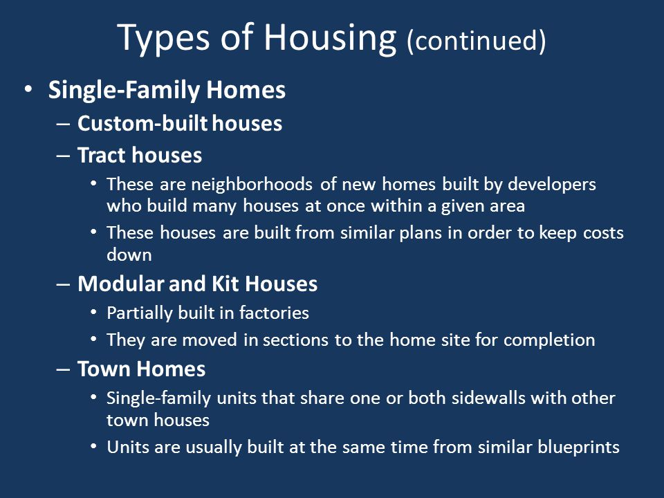 Types of Housing (continued)