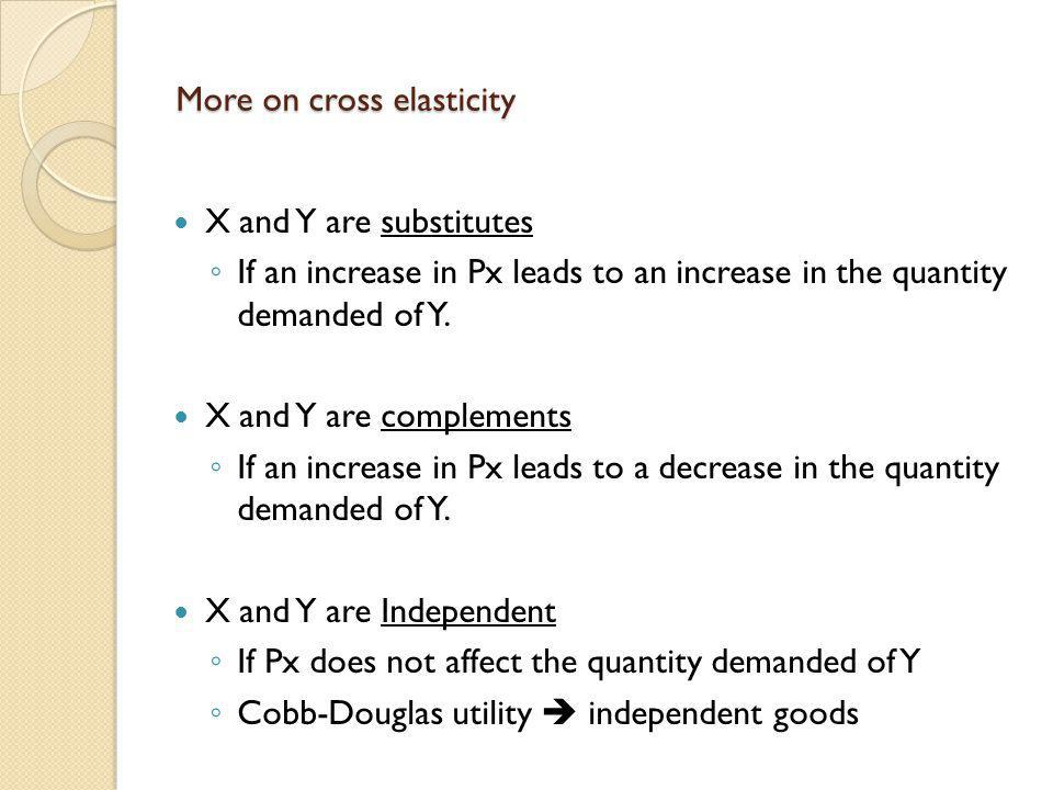 More on cross elasticity